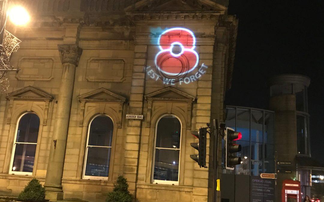 Landmarks lit red for Remembrance